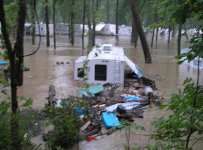 Photo of a washed out trailer park in Loudonville