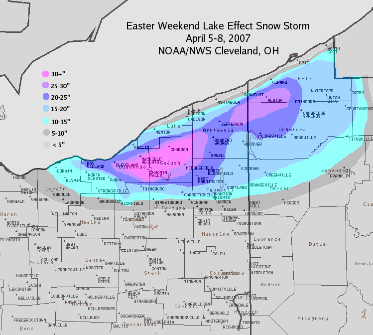 Snowfall map from Easter April 5-8, 2007 Lake Effect Snow