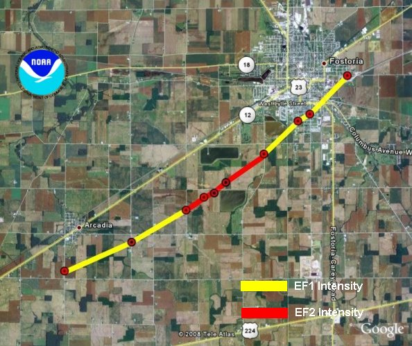 path of EF2 Tornado that affected Arcadia and Fostoria