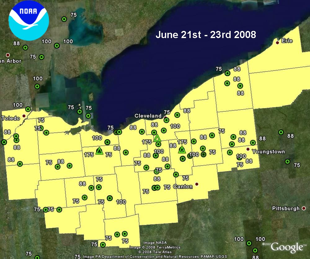 map of severe hail reports from June 21-23, 2008