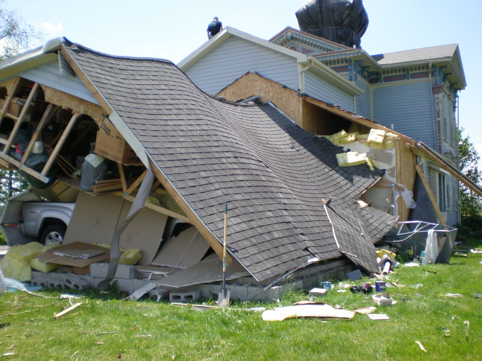 structural collapse of home over garage