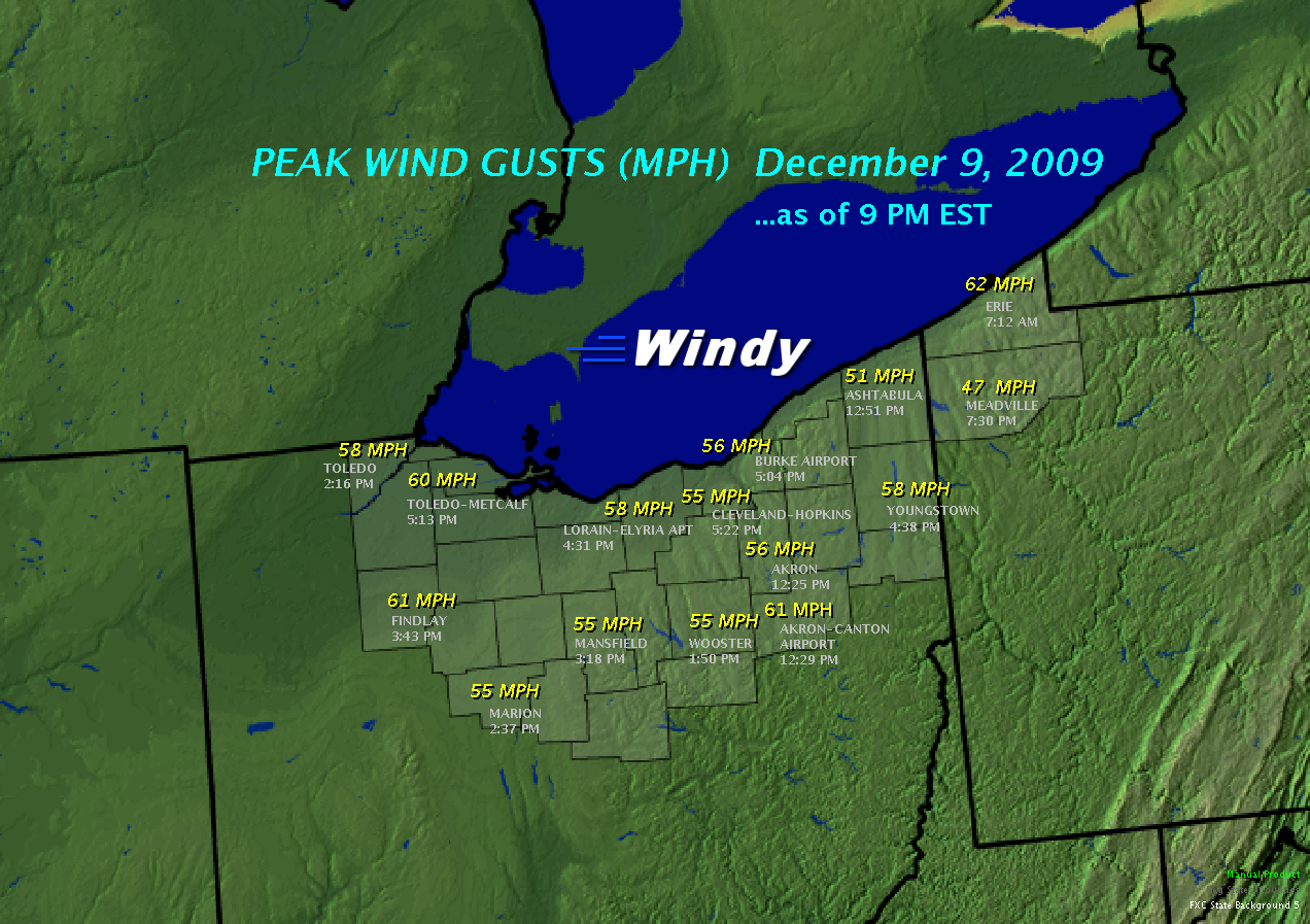 Map of high winds from northern Ohio and NW Pennsylvania