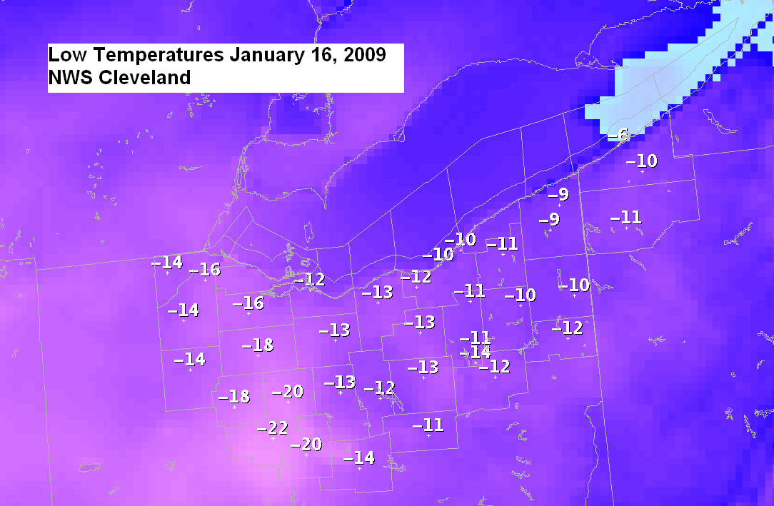graphic showing low temperatures 1/16/2009