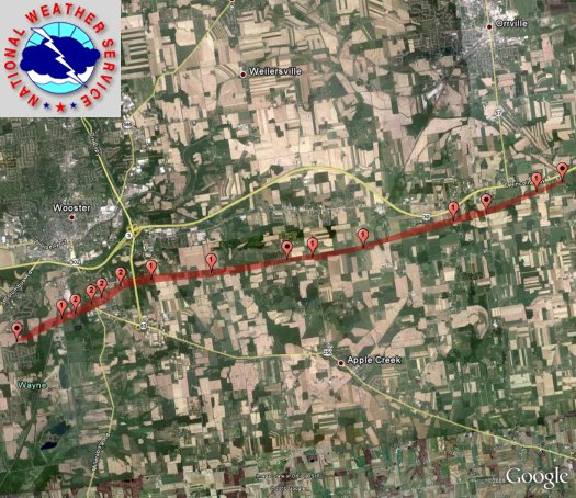 Map of Wayne County Tornado