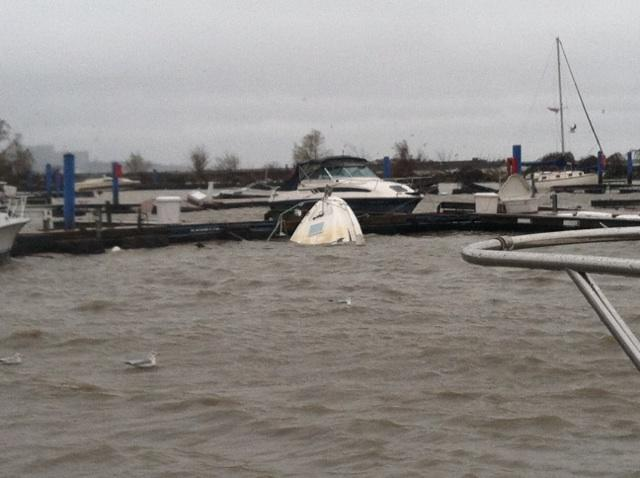 damage at Cleveland area marinas
