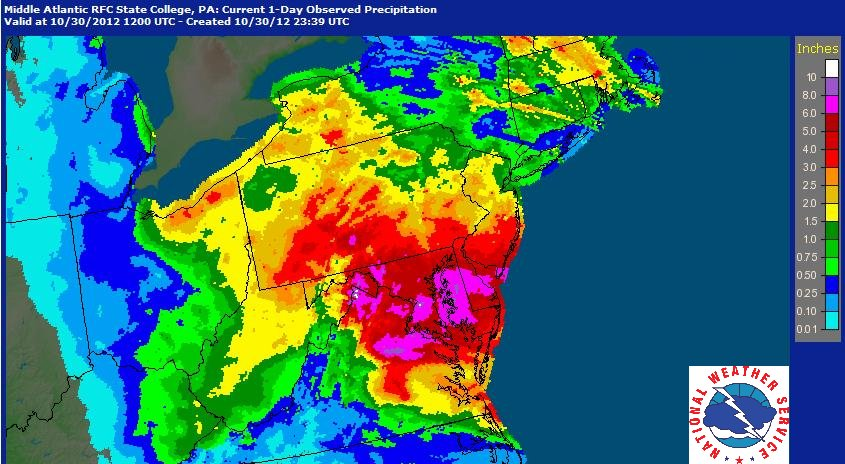 Radar estimated rainfall from Hurricane Sandy and its remnants