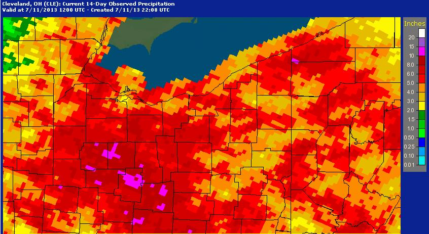 14-day observed precipitation across the region
