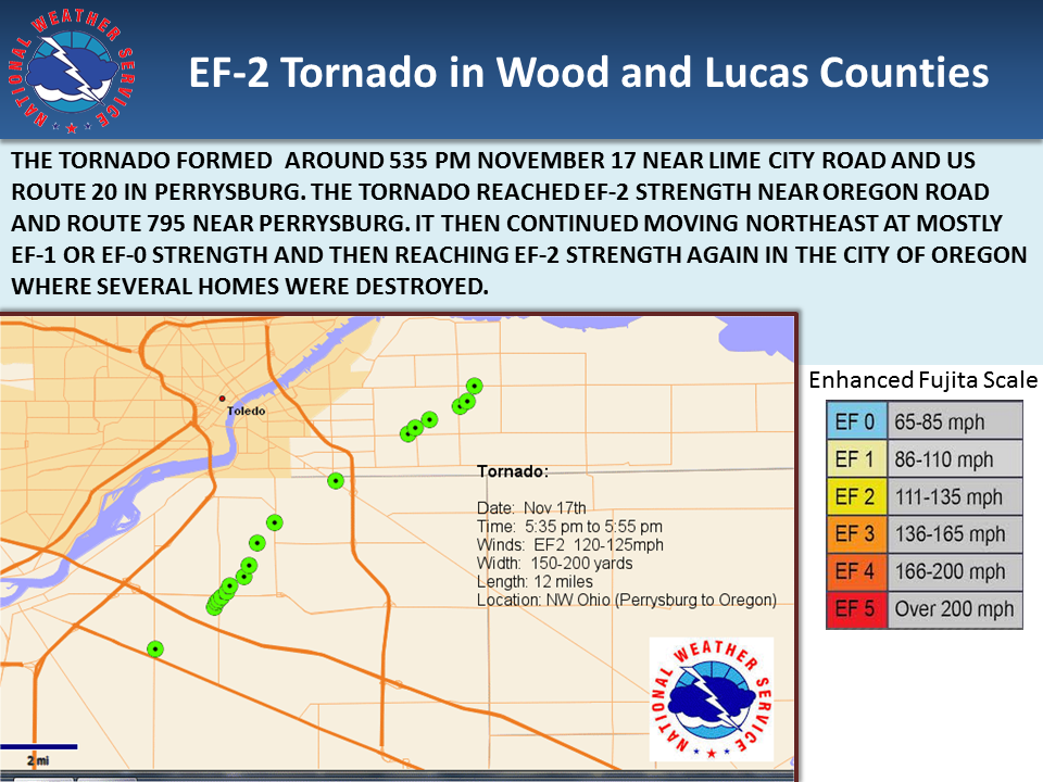 Graphic depicting path of the Wood/Lucas Tornado