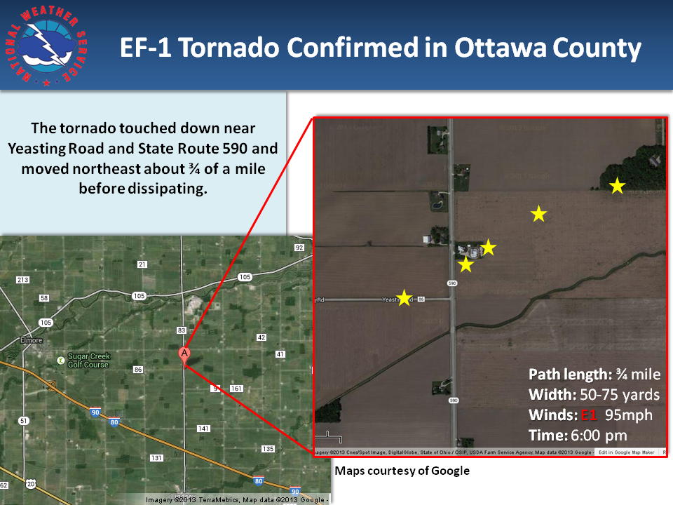 grapic depicting the track of the Ottawa tornado