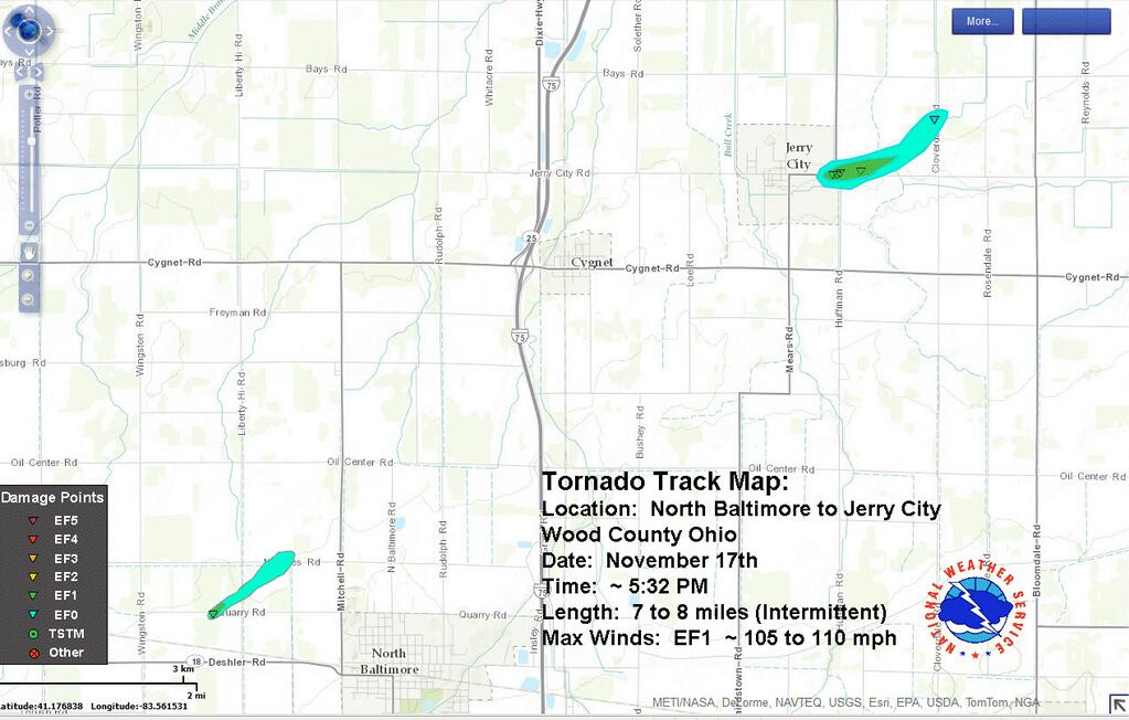 graphic depicting tornado track for the central Wood county tornado