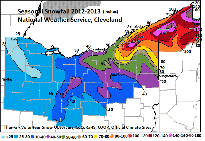 seasonal snowfall for 2012-2013