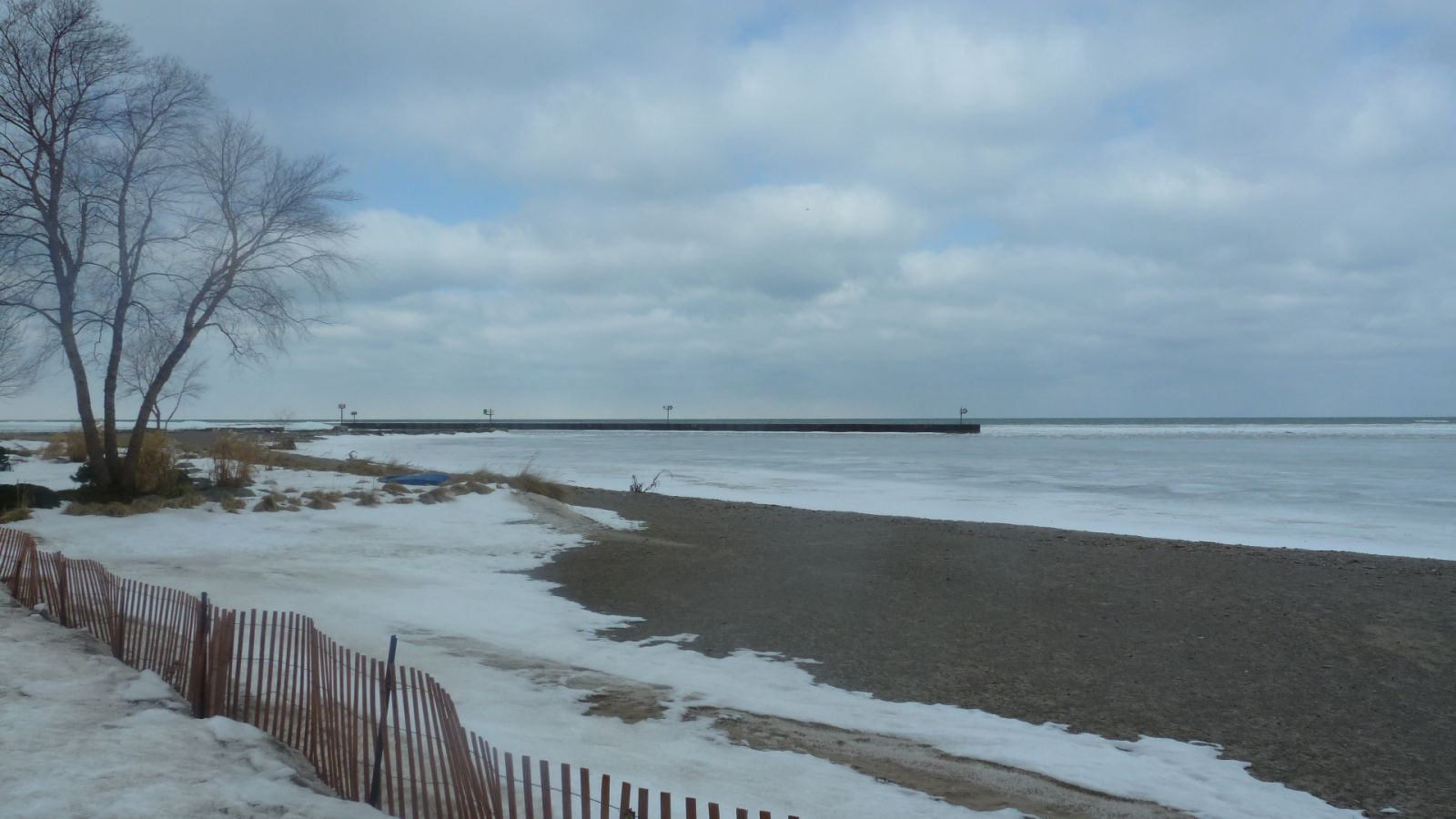 mouth of the Vermilion River clogged by ice on Lake Erie