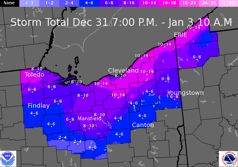 storm total from Dec 31 to Jan 3