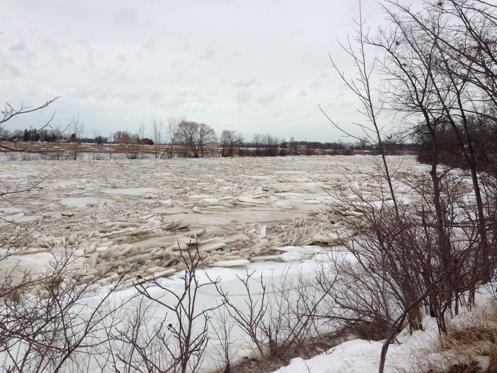 Portage River ice jam
