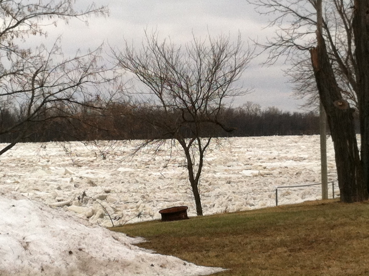 ice jam along the Maumee River a few miles upstream of Grand Rapids, OH
