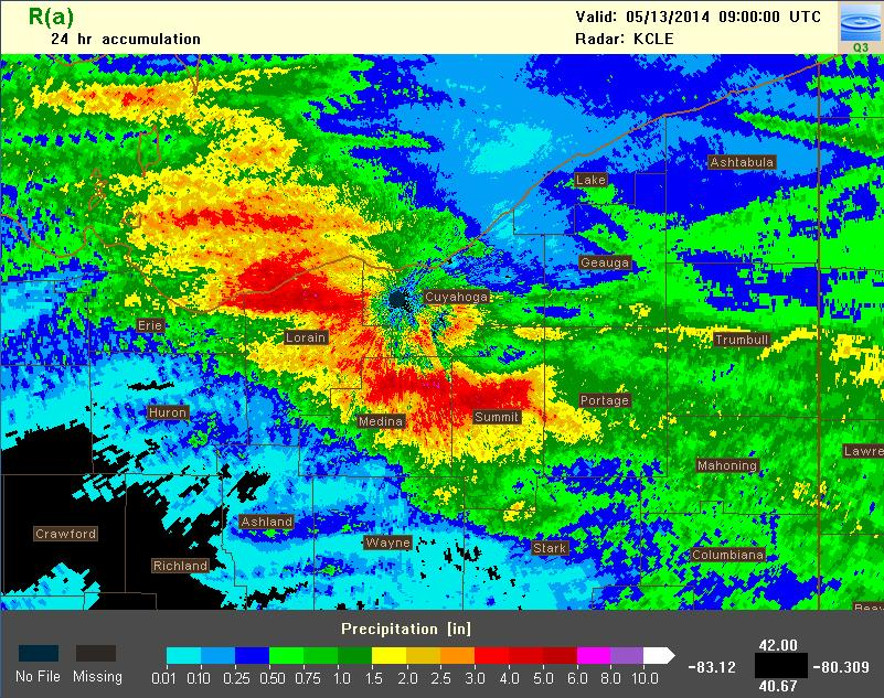 24-hr rainfall accumulation encompassing the May 12, 2014 event