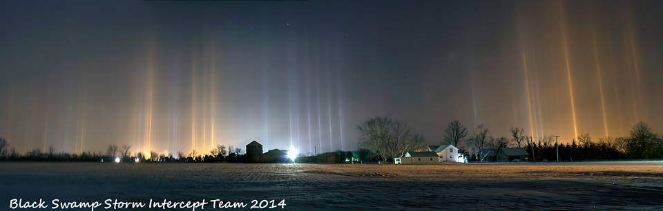 Light pillars from Clyde, OH on 1/21/14