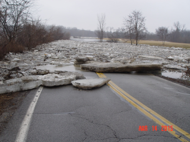 ice jam related flooding in Fremont