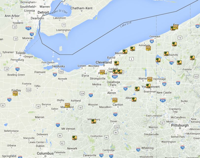 This map shows the distribution of wind reports across northern Ohio and northwest Pennsylvania.
