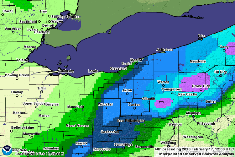 Snowfall Event from 2/15/16-2/16/16