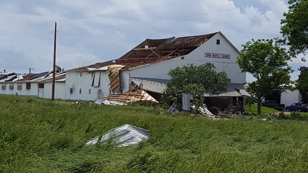 Damage to Barn in Wayne County from Microburst