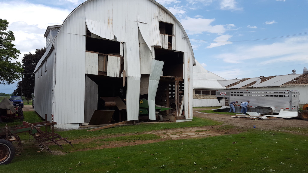 Damage to Another Barn in Wayne County due to a Microburst