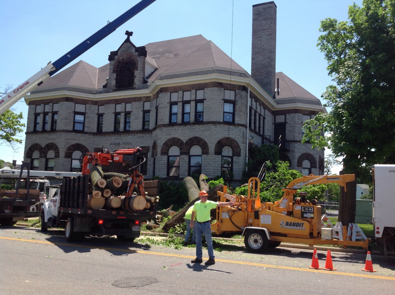 Crew cleaning up trees in Sandusky