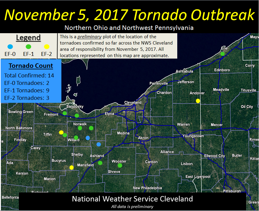 Map Showing the Location of the 14 tornadoes from the November 5, 2017 tornado outbreak event.