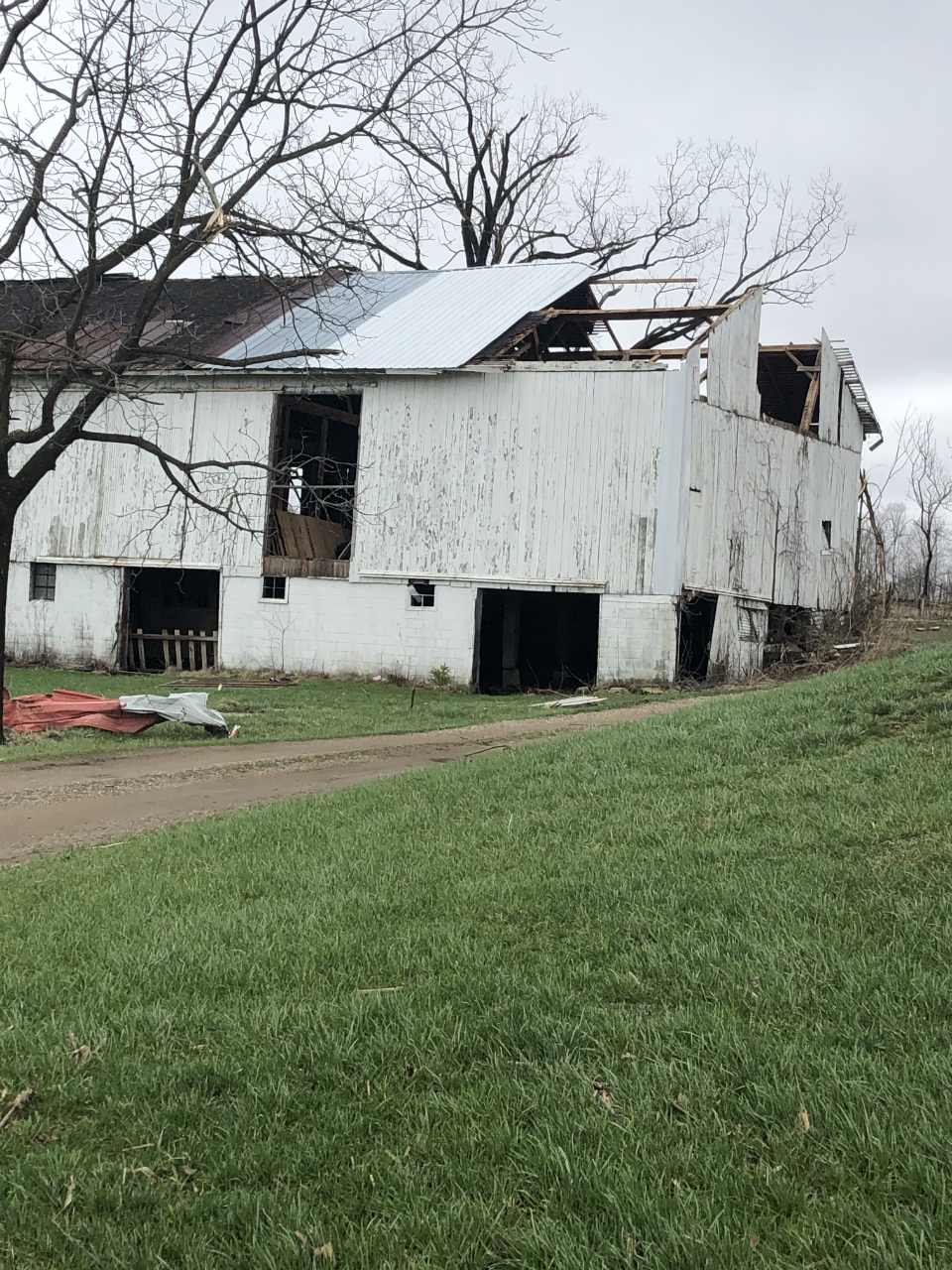 tornado damage near Shelby, OH April 14, 2019