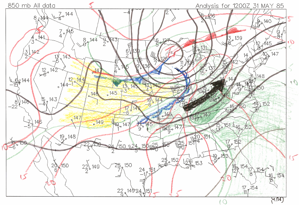 850mb Chart from 12Z 31 May 1985 - Figure 1