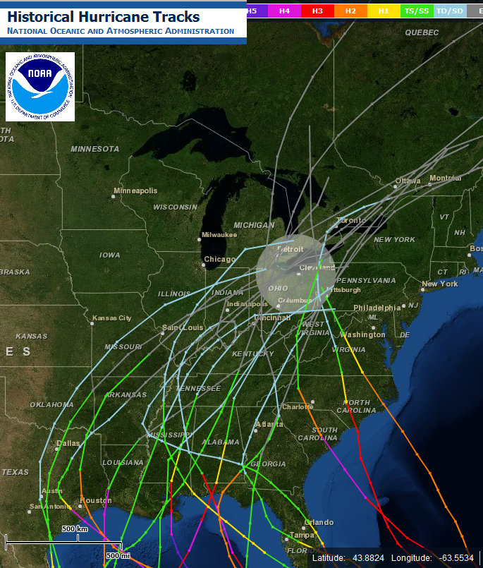 Historical Hurricane Tracks near Ohio
