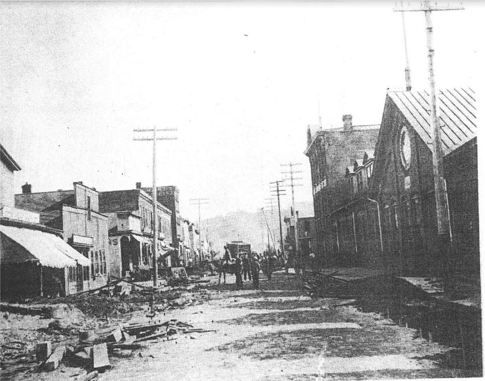 Image of the devastation to Titusville after the flood and fires of June 4-5, 1892