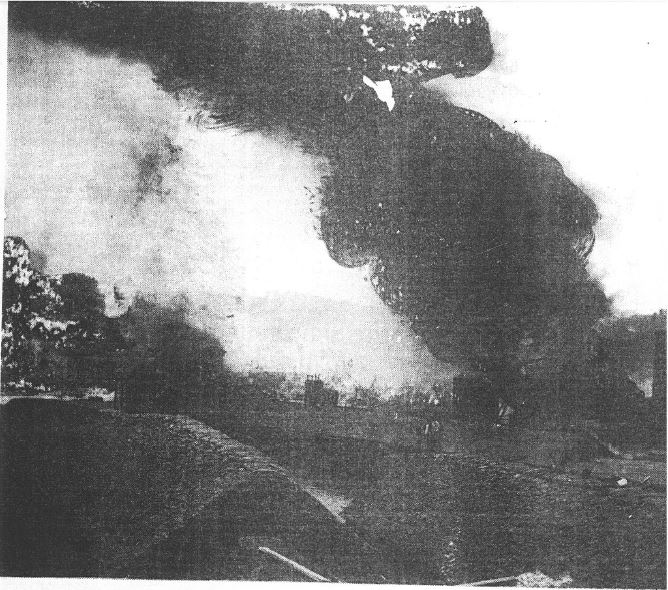 Image of fires at Titusville oil refineries after floods on June 4-5, 1892.