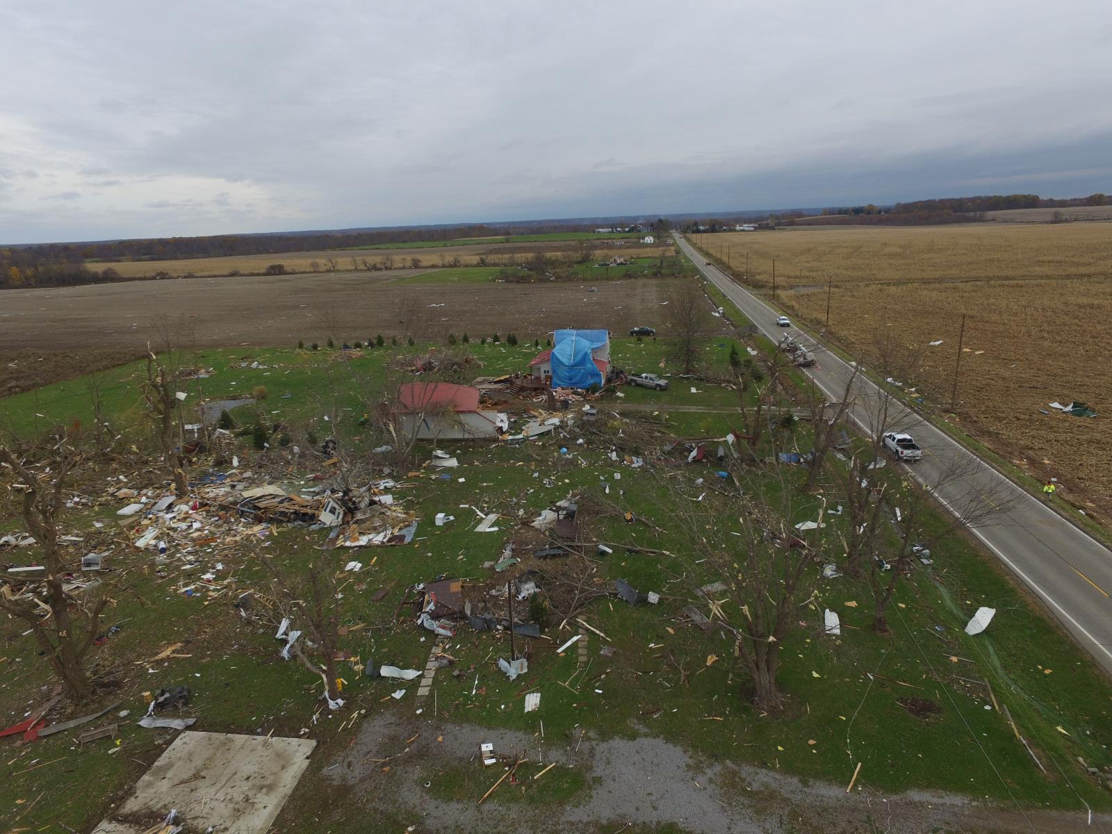 Areal view of damage from Williamsfield Tornado, November 5 2017