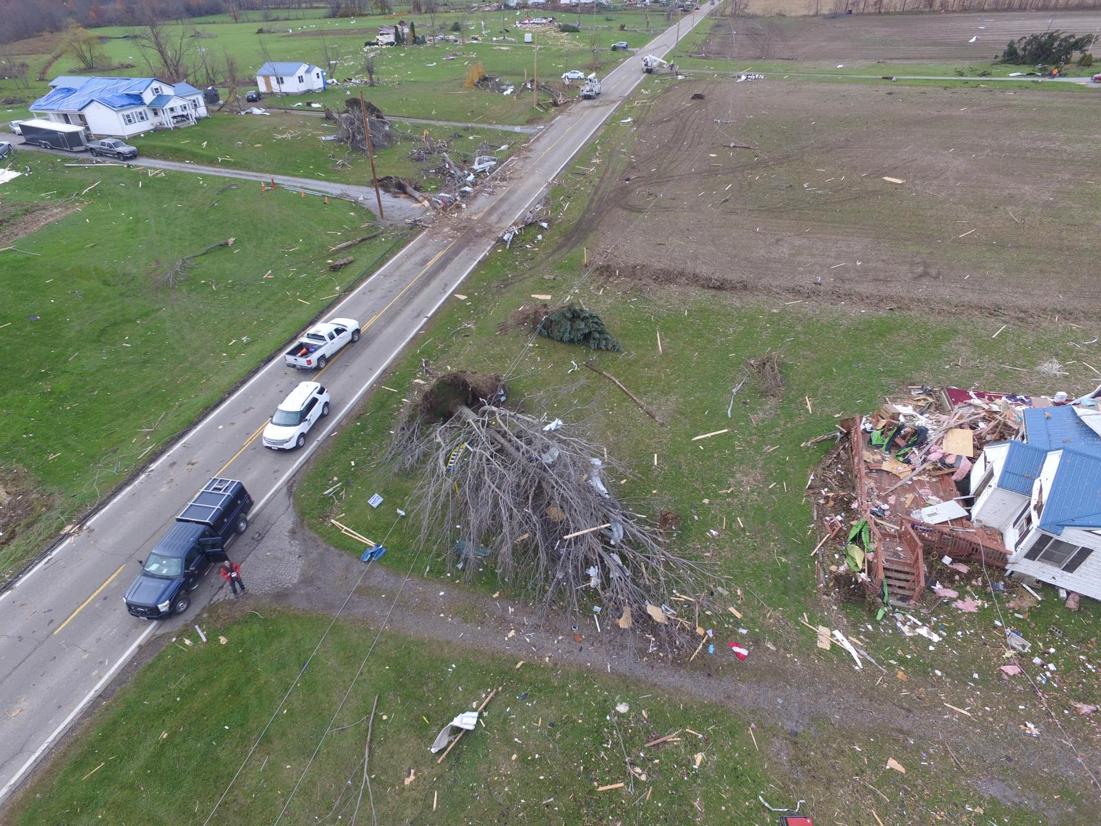 Areal view of damage path of Williamsfield Tornado, November 5, 2017