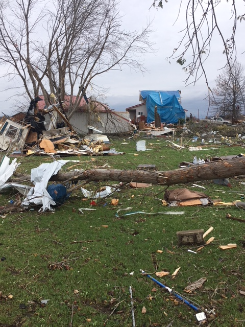 Close up view of Williamsfield Tornado damage, November 5, 2017