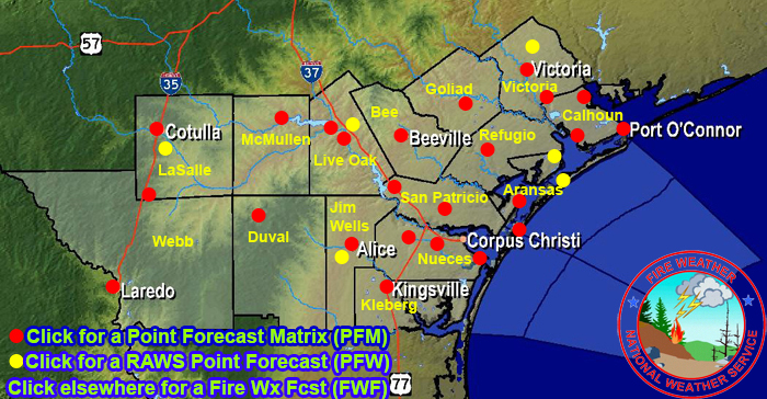 Clickable Fire Weather Forecast Map