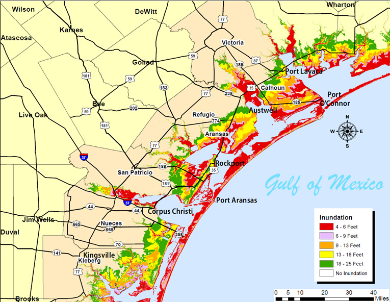 Map Of Texas Weather.Storm Surge Maps Coastal Bend