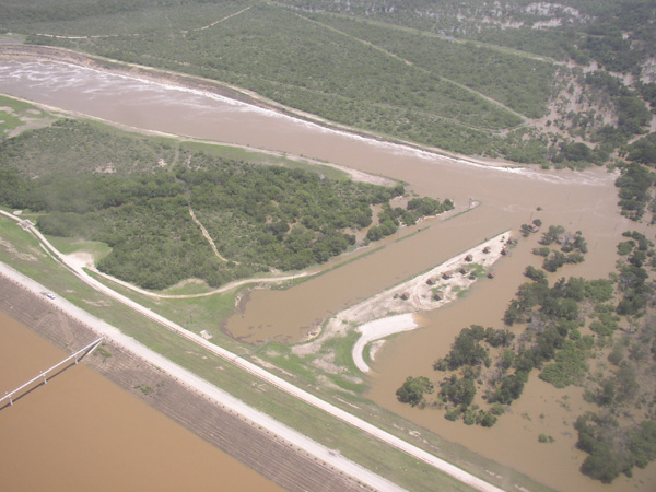 Frio River downstream from Choke Canyon Dam releasing 9000 cfs