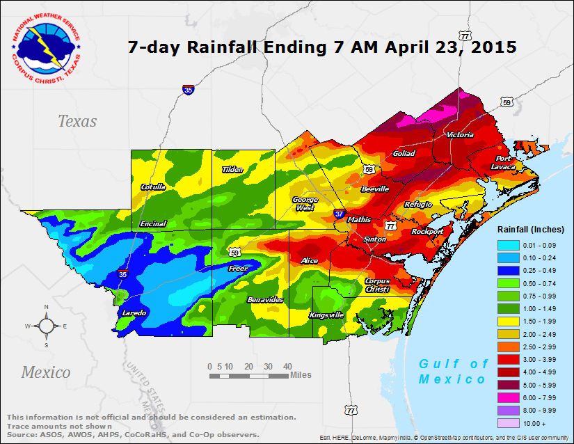 7-Day Observed Rainfall ending 7 AM April 23, 2015