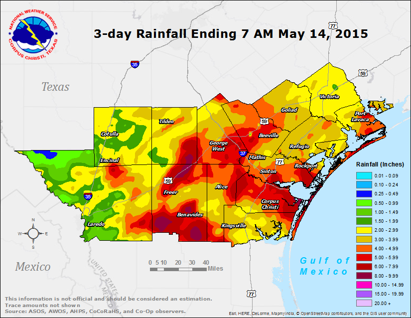 Texas Flood Map 2015 South Texas Heavy Rain and Flooding Event   May 13th, 2015