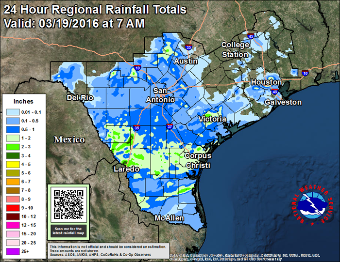 24 Hour Regional Rainfall ending 7 AM March 19, 2016