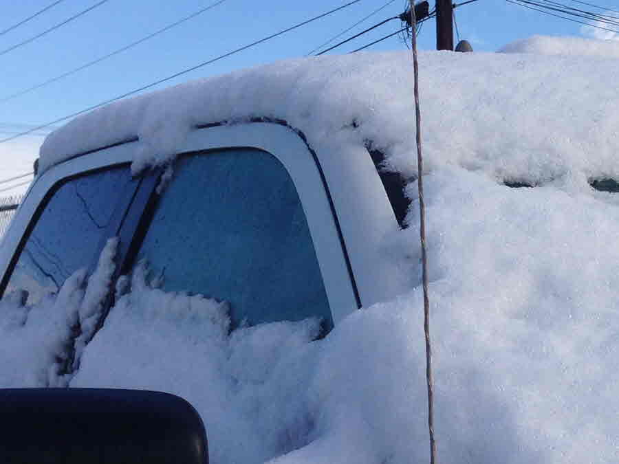 Laredo: Snow Piled on Vehicle - Credit Oscar Maldonado