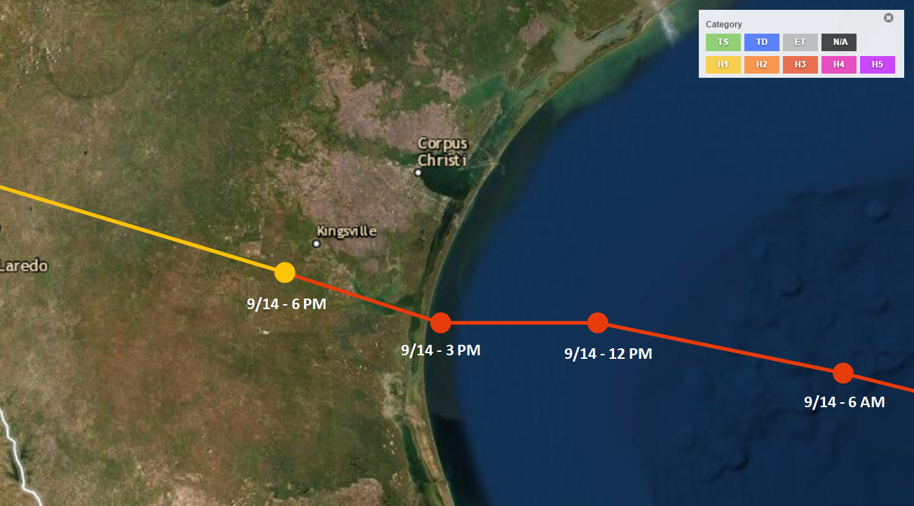 Position times (LST) and track of 1919 Hurricane