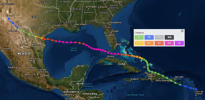 Full track of the 1919 Hurricane