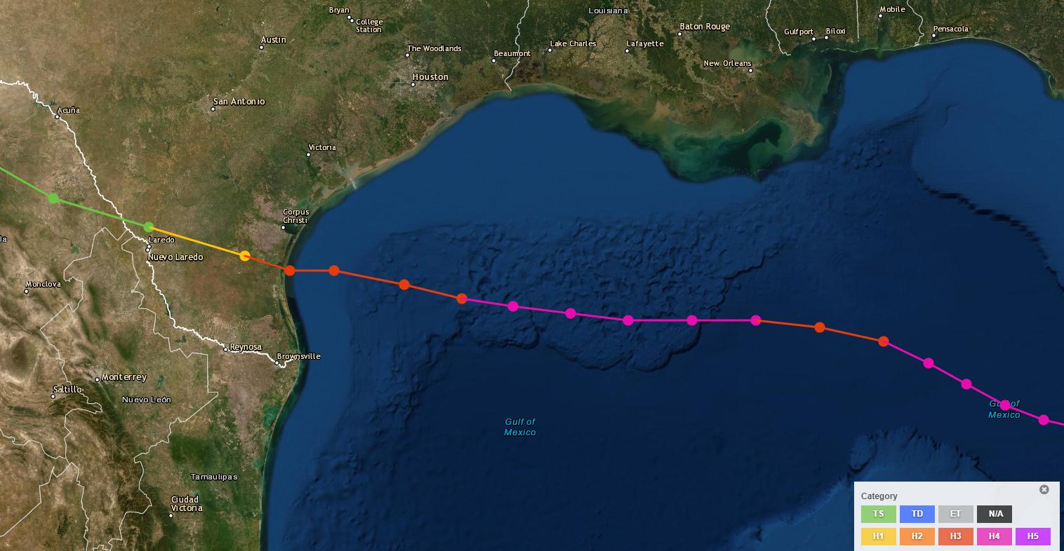Gulf basin track of 1919 Hurricane