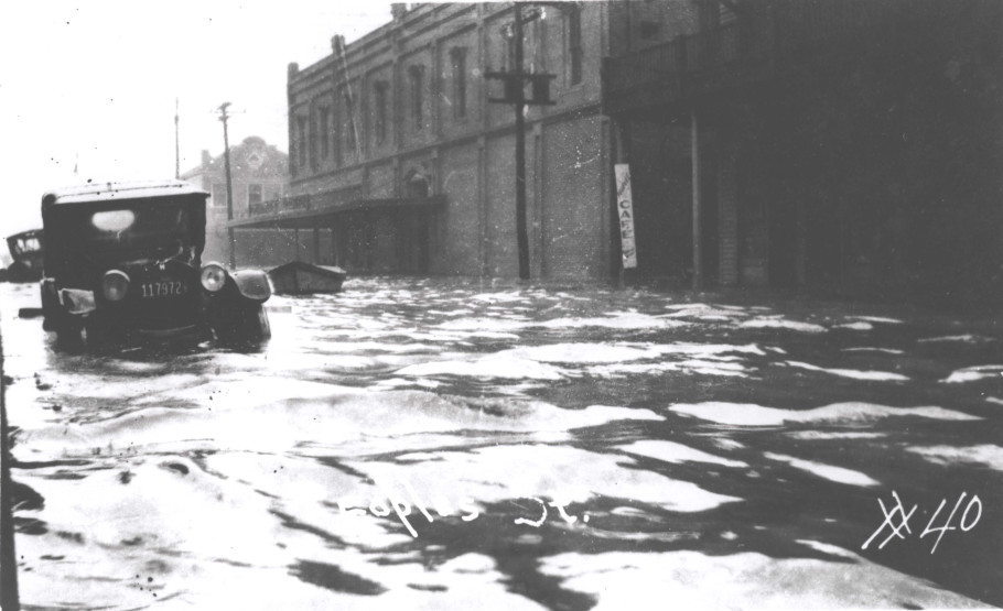 Flooding of Peoples Street in downtown Corpus Christi.