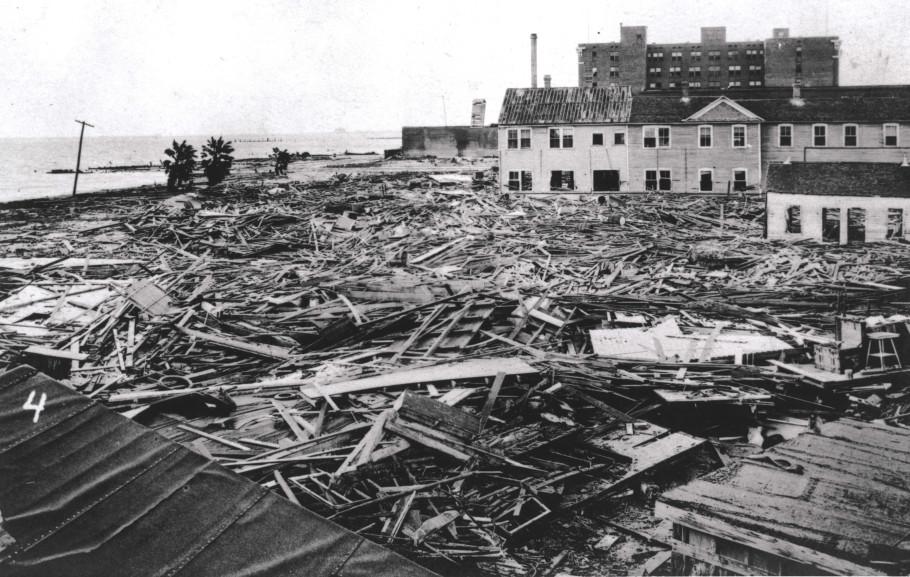 Heavy destruction of shorefront buildings and businesses.