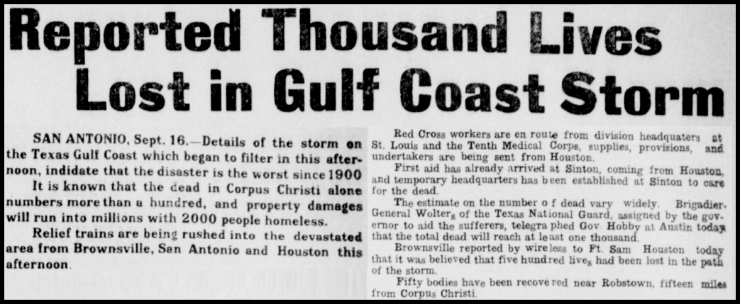 Newspaper headline the day after the storm from the Ballinger Daily Ledger.