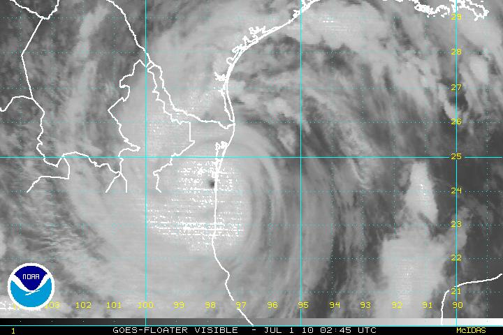 Landfall Visible image of Alex